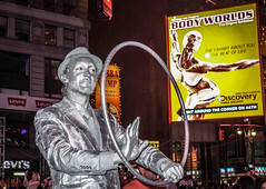 Silver Man (ViewFromTheStreet) Tags: street nyc newyorkcity newyork man male guy classic hat silver photography calle amazing manhattan streetphotography tie exhibit ring jacket timessquare busker performer bigapple blick allrightsreserved bodyworlds viewfromthestreet stphotographia vftsviewfromthestreet blickcalle copyright2016 copyright2016blickcalle blickcallevfts blickcallevfts