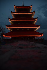 Sometimes it's skill, others it's just plain luck. I consider myself lucky to get this light perfect. (SaltyDogPhoto) Tags: travel light building vertical architecture clouds asian outdoors photography reading lights evening pagoda twilight nikon dof cloudy pennsylvania chinese depthoffield pa bluehour nikkor lightandshadow berkscounty readingpa photooftheday leadinglines travelphotography mtpenn focusonbackground readingpagoda nikonphotography nikond7200 saltydogphoto nikkor1680mmf284eedvr