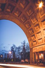 Arch (fjuryadam) Tags: old blue trees sky motion building tower history architecture canon stars lights republic arch shadows czech sony wide prefab ostrava lightroom monoblock poruba monob