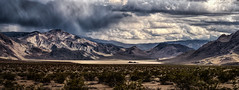 Desert-Rain (Maddog Murph) Tags: california park light sun mist mountains rain clouds racetrack race death track desert state cloudy playa brush sage part valley rainstorm rays shining beams partially