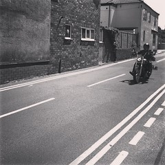 And then, the Hells Angels turned... (nathanrobinson2) Tags: blackandwhite bikes soa scotter hellsangels uploaded:by=flickstagram instagram:photo=1002138029900693665184137303