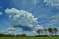 Fluffy clouds over Hertfordshire (35mmMan) Tags: uk trees england weather skyline clouds spring fluffy cloudscape android hertfordshire aprilshowers samsungkzoom