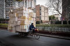 (Rob-Shanghai) Tags: china street leica people big shanghai tricycle boxes load leicaq
