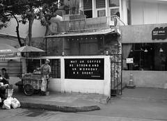 Be Short - Phayathai Bangkok (jcbkk1956) Tags: street blackandwhite food coffee sign thailand mono nikon bangkok candid thai vendor phayathai worldtrekker