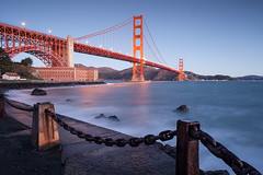 Sunrise at Fort Point (maibrian) Tags: sanfrancisco bridge red reflection nature water canon reflections landscape golden chains gate goldengatebridge goldengate bayarea fortpoint gnd ef1740mmf4lusm leefilters 5dmarkii