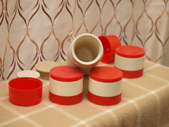 Aladdin Red Thermos (vintage-13) Tags: red food classic vintage beige 60s colorful forsale nashville cream ivory kitsch thermo retro container plastic 80s jar 70s 1960s etsy 1970s aladdin 1980s thermos insulated 7000 storages 7000thermojar