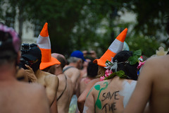 Save the Traffic Cones (Le monde d'aujourd'hui) Tags: world street two orange streets london hat bike naked ride traffic trafficcones cones twos wnbr