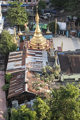 (AsianInsights) Tags: city temple gold golden pagoda rust asia southeastasia yangon burma stupa roofs weathered myanmar neighbourhood corrugatediron rangoon 2016 tinroofs myanma february2016