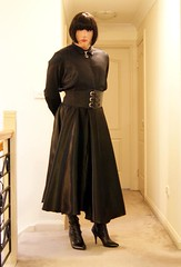 Black Night (3) (Furre Ausse) Tags: black leather belt dress boots skirt blouse gloves satin cincher governess gouvernante