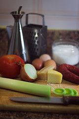 6/30 (nicolee_camacho) Tags: food cooking kitchen vegetables 30 cheese tomato photography day cook obsession days eggs chorizo onion leek challenge leeks