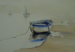 Poetic boat, by Gislaine - DSC02218 (Dona Mincia) Tags: seascape art watercolor painting paper landscape boat barco arte poetic paisagem study pintura aquarela potico