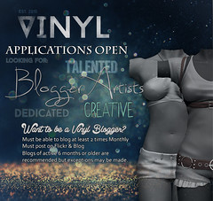 Vinyl is looking for Bloggers! (aka Sukoshitosuto Resident) Tags: life for blog artist looking employment creative vinyl blogger sl virtual second wanted