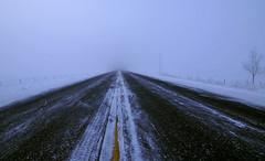 Anything coming? (Len Langevin) Tags: road winter snow canada fog vanishingpoint nikon empty foggy frosty tokina alberta visibility 1116 d300s
