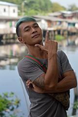 i am so handsome with my green hair (the foreign photographer - ) Tags: man green portraits hair thailand nikon bangkok young bang bua khlong bangkhen d3200 jan232016nikon