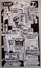 Tarek's painting (Pegasus & Co) Tags: urban streetart art colors collage painting skulls graffiti artwork gallery drawing contemporaryart collages paintings arts lifestyle drawings exhibition dessin peinture menatwork hype beautifulcolors bd dessins artistes  urbain tarek pochoir   contemporain arturbain   geometrik   fabriquedesimages     galeriephilippegelot