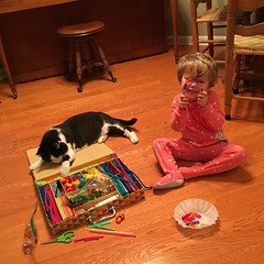 Early morning craft time! (ShanMcG213) Tags: cats cat toddler huntsville crafts alabama pjs em myniece emmarose cina hsv blackandwhitecat crafttime huntsvilleal whiteandblackcat ihearthsv lifewithemmarose