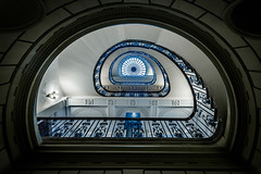 The Spiral Eye - Explored (Sean Batten) Tags: city blue england urban london window glass architecture stairs spiral nikon gallery artgallery unitedkingdom somersethouse gb d800 1424 courtauldgallery