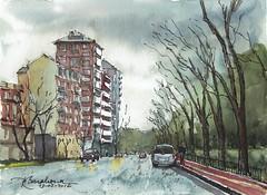 Paseo de Moret. Madrid (P.Barahona) Tags: madrid lluvia arquitectura urbano acuarelas parques pbarahona