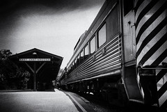 East Chattanooga Train Station II (rschnaible) Tags: bw usa white black art chattanooga station train photography us tour outdoor tennessee south sightseeing monotone tourist southern commission