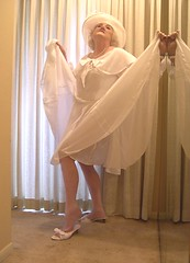 I tried blonde wig, with this white dress (Sugarbarre2) Tags: old light woman baby reflection self dark high nikon toes legs flash panty s hose bow wife heels granny