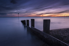 Sunset Blues (scott.hammond34) Tags: uk longexposure winter sunset sky seascape colour water clouds landscape outdoor vivid estuary bluehour groyne essex southend hightide chalkwell