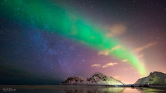 Aurora Borealis, Milky Way, and Light Pollution (hak87) Tags: winter light sun reflection beach norway night way stars islands tide low pollution aurora northern milky lofoten borealis skagsanden