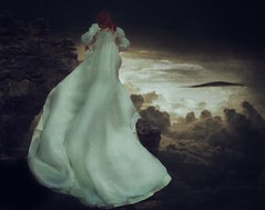 I'll Take the Stairs (theroad2home) Tags: portrait sky woman painterly art girl stone fairytale clouds stairs self vintage dark ruins dress princess antique fine staircase dreamy conceptual timeless muted
