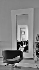 mirror mirror on the wall (SqueakyMarmot) Tags: blackandwhite bw reflection vancouver mirror burnaby hairsalon suburb