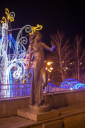 A statue representing a local river