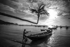 Sairee Beach, sunset - Thailand (Lauren :o)) Tags: ocean sea blackandwhite beach monochrome thailand island boat paradise kohtao longtail longtailboat turtleisland desertisland saireebeach sairee