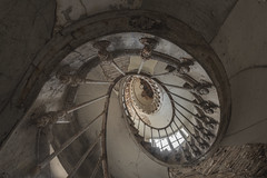 One Piece (ProfShot - Perry Wiertz) Tags: wood old light shadow urban castle abandoned stairs dark spiral lost close floor decay cage ceiling upstairs forbidden hidden staircase forgotten handrail chateau rood derelict decayed firstfloor urbex lightfall
