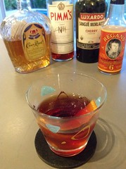 Do-Right (Jared Fischer via Gaz Regan) with Crown Royal, Pimm's No. 1 Cup, Luxardo cherry liqueur, Regan's orange bitters #cocktail #cocktails #craftcocktails #101bestnewcocktails #whiskey (*FrogPrincesse*) Tags: whiskey cocktail cocktails crownroyal pimms orangebitters cherryliqueur craftcocktails regansorangebitters 101bestnewcocktails jaredfischer