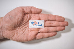 I Voted Today (ScottNorrisPhoto) Tags: stilllife usa white wisconsin photography sticker hand bright text fingers palm explore milwaukee thumb vote slogan tabletop voted 365project scottnorrisphotography