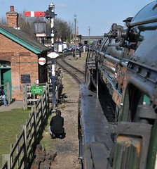 Great Central Railway Loughborough North 25th March 2016 (loose_grip_99) Tags: uk railroad england train easter march leicestershire engine rail railway trains steam transportation locomotive standard railways loughborough preservation dampflok 2100 greatcentral 2016 britishrailways dampf 9f uksteam gassteam