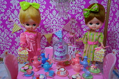 It's My Birthday!!!!! (Primrose Princess) Tags: birthday pink barbie birthdayparty chandelier birthdaycake presents teapot blythe diorama teaparty dollhouse vintagedishes posedolls