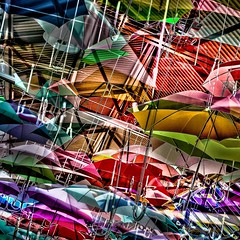 LET THE RAINS FALL DOWN (panache2620) Tags: abstract composite colorful vivid cheerful marypoppins umbrellas playful