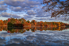 Morning of Autum Past (Bob90901) Tags: morning autumn trees newyork reflection fall water clouds canon landscape pond october fallcolors symmetry longisland fallfoliage past 6d 2015 suffolkcounty greatriver canonef24105mmf4lisusm westbrookpond cloudsstormssunsetssunrises rpg90901