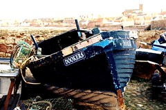 Dunbar Old Harbour (BazzaStrae) Tags: ocean wood old blue sea canonav1 classic scotland boat town wooden fishing kodak tmax traditional side crab vessel east 200 lobster hull tradition shipping dunbar traps lothian dookers