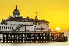The Golden Orb (simon.anderson) Tags: sun sunrise gold golden nikon warm warmth eastbourne goldenlight eastbournepier sigma70200 simonanderson nikond7100