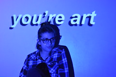 rosie art 1 (laurenashphotos) Tags: blue cute art girl glasses cool model projector artsy aesthetic bluetones cooltones tumblr projectorphotography