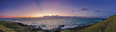 Panorama of a Sunrise Sky over the Pacific (Amazing Sky Photography) Tags: ocean panorama seascape sunrise dawn twilight pacific australia nsw acr hdr crepuscularrays cloudshadows woolgoolga