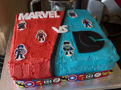 Marvel Vs DC Cake! (Theweird1ne) Tags: blue red white black cake dc comic spiderman ironman superman comicbook superhero batman icing thor marvel captainamerica dairyfree