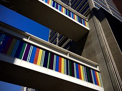 Skyway Abstraction (-jamesstave-) Tags: nyc sky newyork abstract color building architecture modern manhattan contemporary stripes skybridge elevated parallel uppereastside connect skyway cuny huntercollege lenoxhill iphone5s