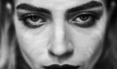 There's some hell in ur eyes, u know (Ksenia Hovalt) Tags: blackandwhite bw woman art girl monochrome dark eyes darkness hell devil dominant brows diabolique