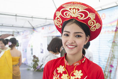 Taste of Vietnam (tylerkingphotography) Tags: city travel red portrait people girl smile lens thailand photography gold student nikon southeastasia vietnamese photographer dress outdoor bangkok traditional young kingdom vietnam explore backpacking thai kit 1855mm traveling amateur apparel garb aodai centralworld khandong ratchadamri khnng d3100 rachaprasongjunction
