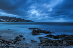 Laguna Beach - Rainy Morning (www.karltonhuberphotography.com) Tags: longexposure sky weather clouds landscape outdoors moody gloomy rainyday threatening stormy pacificocean southerncalifornia drama tension graysky theoc lagunabeach californiacoastline softlight grayday 2016 southcounty flowingwater diffusedlight distantlights smoothwater silkywater horizontalimage orangecountycalifornia shorelinerocks karltonhuber