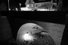 F.Y. (stefankamert) Tags: street bridge blackandwhite bw man night walking blackwhite lowlight noiretblanc nacht sony highcontrast sw highiso schwarzweis rx100 stefankamert