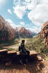 She likes her view, I like mine (vvnnie) Tags: park travel portrait mountains wow landscape utah amazing view national zion