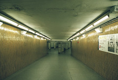 Bowdoin station (Patrick Copley) Tags: film station yellow boston 35mm underground subway blueline kodak interior corridor canonae1p portra400 1970sinterior canonfd35mmf20 bowdoinstation concavelens thoriumlens