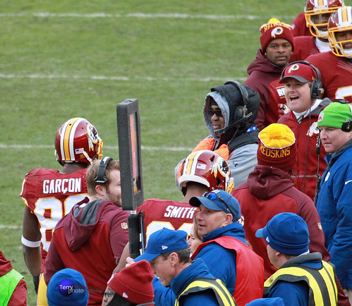 Redskins Head Coach Jay Gruden shouts out to WR Pierre Garcon after his touchdown.